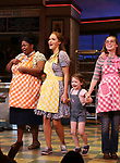 "NaTasha Yvette Williams, Katharine McPhee, Delaney Quinn and Caitlin Houlahan during her curtain call bows as she returns to ""Waitress"" at the Brooks Atkinson Theatre on November 25, 2019 in New York City."