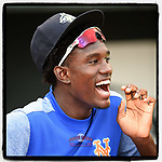 Shortstop Ronny Mauricio (2), the New York #Mets top prospect according to Baseball America, shouts encouragement to teammates as they are introduced before a game against the Hickory Crawdads on Tuesday, August 27, 2019, at Segra Park in Columbia, South Carolina. Columbia won, 3-2. (Tom Priddy/Four Seam Images) #MiLB