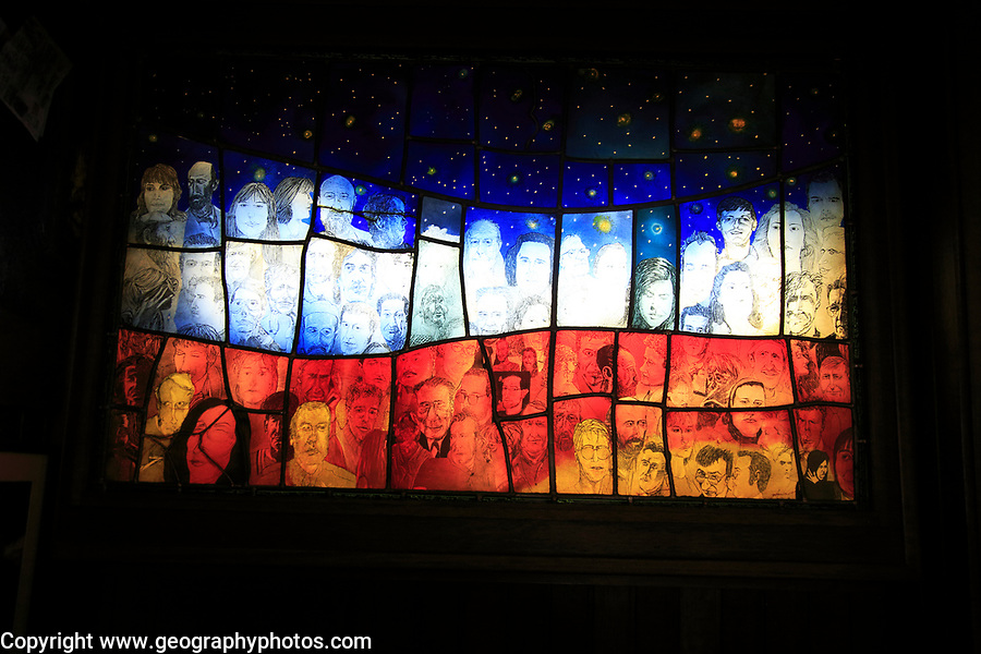 Stained glass artwork display inside J Grogan pub, South William Street, city of Dublin, Ireland, Irish Republic