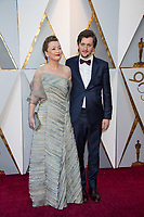 Oscar&reg; nominee for Best Supporting Actress, Lesley Manville and guest arrive on the red carpet of The 90th Oscars&reg; at the Dolby&reg; Theatre in Hollywood, CA on Sunday, March 4, 2018.<br /> *Editorial Use Only*<br /> CAP/PLF/AMPAS<br /> Supplied by Capital Pictures