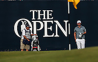 Bernd Wiesberger (AUT) and caddie Shane on the last during Round One of the 145th Open Championship, played at Royal Troon Golf Club, Troon, Scotland. 14/07/2016. Picture: David Lloyd | Golffile.<br /> <br /> All photos usage must carry mandatory copyright credit (&copy; Golffile | David Lloyd)