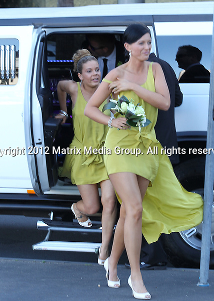 14 OCTOBER SYDNEY AUSTRALIA ..EXCLUSIVE ..West Tigers star player Beau Ryan and his new bride Kara Orrell pictured at Star Casino wharf with their wedding party boarding the Bella Vista for their wedding reception.....*No internet without clearance*.MUST CALL PRIOR TO USE ..+61 2 9211-1088.Matrix Media Group.Note: All editorial images subject to the following: For editorial use only. Additional clearance required for commercial, wireless, internet or promotional use.Images may not be altered or modified. Matrix Media Group makes no representations or warranties regarding names, trademarks or logos appearing in the images.