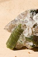 Mineral, Mineralien, Turmalin (grün) in Stein eingeschlossen