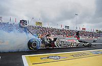 Jun. 1, 2012; Englishtown, NJ, USA: NHRA top fuel dragster driver Shawn Langdon during qualifying for the Supernationals at Raceway Park. Mandatory Credit: Mark J. Rebilas-