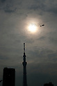 A helicopter flies in front of Tokyo Sky Tree as the moon passes in front of the sun during an annular solar eclipse over the skies of Tokyo, Japan on Monday May 21st, 2012. This was the first time in 173 years that an annualar solar eclipse was visible from Tokyo.