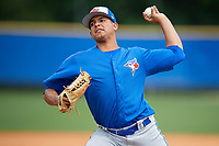 Toronto Blue Jays pitcher Juliandry Higuera (22) during a Minor League Spring Training Intrasquad game on March 31, 2018 at Englebert Complex in Dunedin, Florida.  (Mike Janes/Four Seam Images)