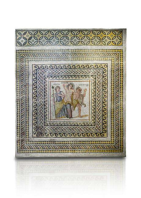 Roman mosaics - Dionysus Mosaic. Poseidon Villa Ancient Zeugama, 3rd century AD . Zeugma Mosaic Museum, Gaziantep, Turkey.  Against a white background.