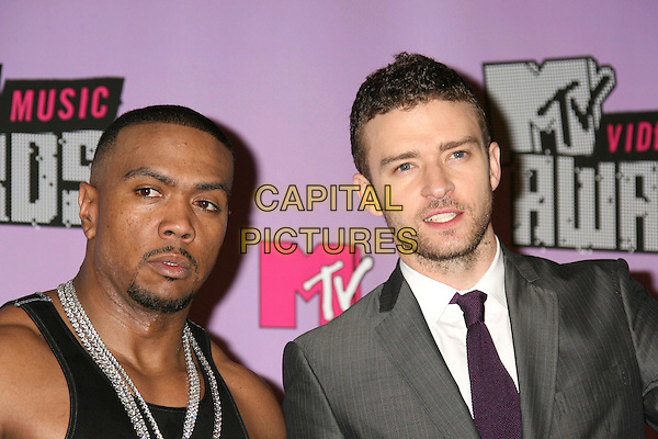TIMBALAND & JUSTIN TIMBERLAKE.2007 MTV Video Music Awards .held at the Palms Resort & Casino, Las Vegas, .Nevada, USA, 09 September 2007..portrait headshot.CAP/ADM/RE.©Russ Elliot/AdMedia/Capital Pictures.