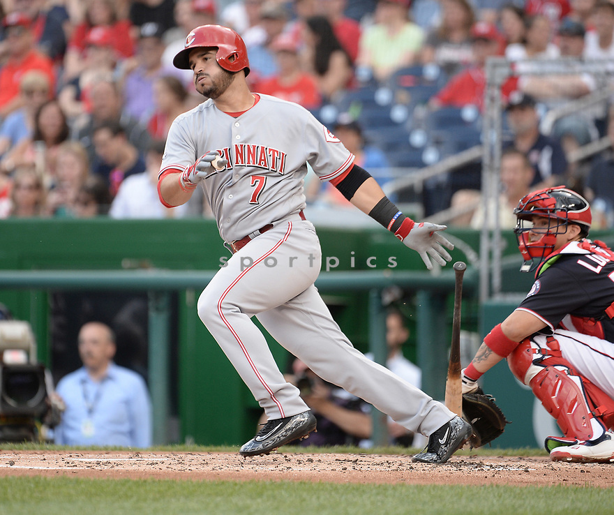 CIncinnati Reds Eugenio Suarez (7) during a game against the Washington Nationals on July 1, 2016 at Nationals Park in Washington DC. The Nationals beat the Reds 3-2.