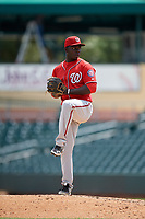 Washington Nationals pitcher Eddy Yean (40) during an Instructional League game against the Miami Marlins on September 25, 2019 at Roger Dean Chevrolet Stadium in Jupiter, Florida.  (Mike Janes/Four Seam Images)