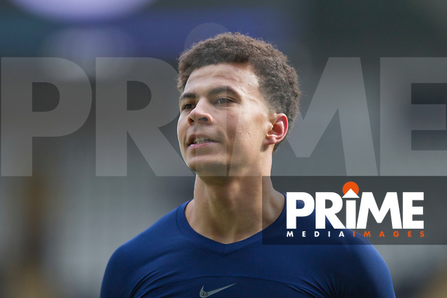 Dele Alli of Tottenham Hotspur gives his shirt to fans at full time of the FA Cup Quarter Final match between Swansea City and Tottenham Hotspur at the Liberty Stadium, Swansea, Wales on 17 March 2018. Photo by Mark  Hawkins / PRiME Media Images.