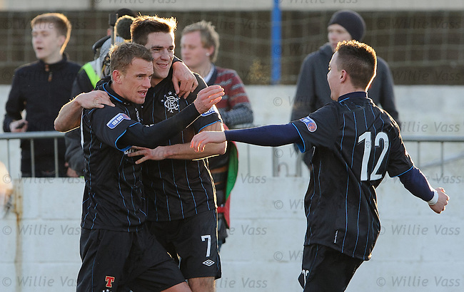 Dean Shiels celebrates his goal with Andy lLttle and Barrie McKay