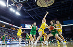 SIOUX FALLS, SD - MARCH 7: Megan Zander #22 of the North Dakota Fighting Hawks drives to the basket against Megan Bultsma #50 of the South Dakota State Jackrabbits at the 2020 Summit League Basketball Championship in Sioux Falls, SD. (Photo by Richard Carlson/Inertia)