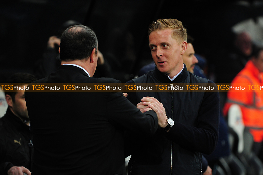 Newcastle United manager Rafa Benítez and Leeds United manager Garry Monk embrace before kick off during Newcastle United vs Leeds United, Sky Bet EFL Championship Football at St. James' Park on 14th April 2017