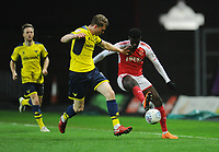 Fleetwood Town's Jordy Hiwula under pressure from Oxford United's Rob Dickie<br /> <br /> Photographer Kevin Barnes/CameraSport<br /> <br /> The EFL Sky Bet League One - Oxford United v Fleetwood Town - Tuesday 10th April 2018 - Kassam Stadium - Oxford<br /> <br /> World Copyright &copy; 2018 CameraSport. All rights reserved. 43 Linden Ave. Countesthorpe. Leicester. England. LE8 5PG - Tel: +44 (0) 116 277 4147 - admin@camerasport.com - www.camerasport.com