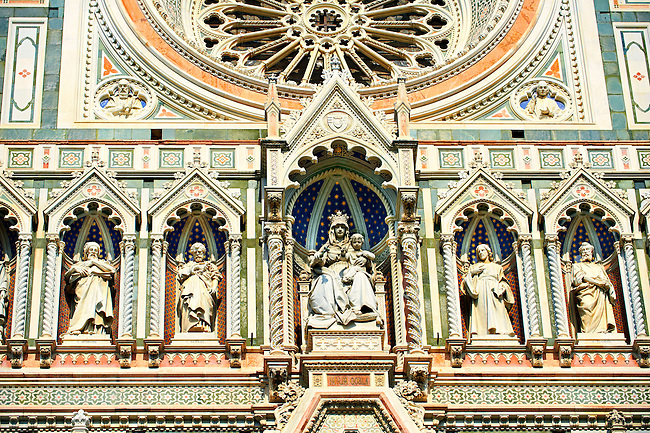 Close up of the Renaissance statues and architecture of the Florence Duomo, Italy