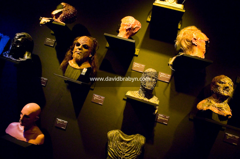 2 October 2006 - New York City, NY - Masks stand on display at the preview of items from the TV show Star Trek at Christie's auction house in New York City, USA, 2 October 2006. The auction, on October 5-7, celebrates the show's 40th anniversary.