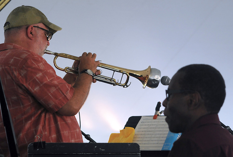 Randy Brecker, playing Trumpet, and George Cables playing piano, with the, Jazz By 5 Group, at the Annual Jazz in the Valley Festival,  in Waryas Park in Poughkeepsie, NY, on Sunday, August 21, 2016. Photo by Jim Peppler. Copyright Jim Peppler 2016 all rights reserved.