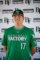 Kenny Tanaka (17) of Oaks Christian High School in Thousand Oaks, California during the Baseball Factory All-America Pre-Season Tournament, powered by Under Armour, on January 12, 2018 at Sloan Park Complex in Mesa, Arizona.  (Zachary Lucy/Four Seam Images)