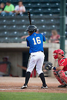 Missoula Osprey right fielder David Sanchez (16) at bat in front of catcher Griffin Barnes (28) during a Pioneer League game against the Orem Owlz at Ogren Park Allegiance Field on August 19, 2018 in Missoula, Montana. The Missoula Osprey defeated the Orem Owlz by a score of 8-0. (Zachary Lucy/Four Seam Images)