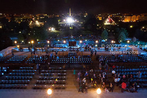 The crowd below gathers before sunrise as they wait His Holiness Pope Francis to come to the West Front of the US Capitol following his address to Congress, Thursday, Sept. 24, 2015.<br /> Credit: Doug Mills / Pool via CNP