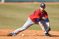 Second baseman Zack Piper #30 on defense versus the Catawba Indians on February 14, 2010 in Salisbury, North Carolina.  Photo by Brian Westerholt / Four Seam Images