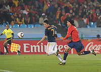 David Villa looks to run onto a cross intended for him. Spain won Group H following a 2-1 defeat of Chile in Pretoria's Loftus Versfeld Stadium, Friday, June 25th, at the 2010 FIFA World Cup in South Africa..