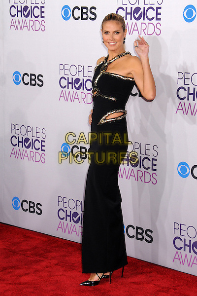 Heidi Klum.People's Choice Awards 2013 - Arrivals held at Nokia Theatre L.A. Live, Los Angeles, California, USA..January 9th, 2013.full length dress black silver gold trim cut out away hand arm waving side .CAP/ADM/BP.©Byron Purvis/AdMedia/Capital Pictures.
