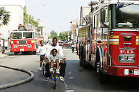 Firefighters in Brooklyn, NY battle a five alarm blaze that ripped through a mattress factory on July 5, 2004.  Fumes from the burning mattresses led many nearby residents to seek shelter elsewhere for the remainder of the day.