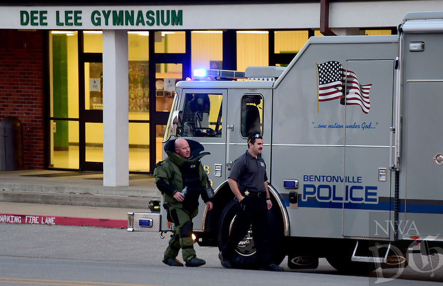 NWA Democrat-Gazette/DAVID GOTTSCHALK  The Bentonville Police Department Bentonville Bomb Squad Monday, November 21, 2016, on the campus of the Greenland Public Schools inspecting a suspicious object in Greenland.