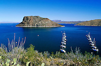 Dam Site Marina and Recreation Area. Elephant Butte juts out of Elephant Butte Lake, a huge reservoir. rock formations, waterway, geology, boats, boat. New Mexico, Elephant Butte Dam.