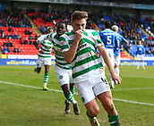 3rd February 2019, McDiarmid Park, Perth, Scotland; Ladbrokes Premiership football, St Johnston versus Celtic;  James Forrest of Celtic celebrates after making it 1-0 to Celtic in the 78th minute