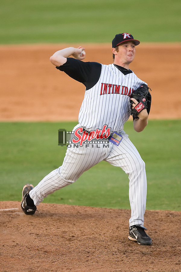 Charlie Shirek (37) of the Kannapolis Intimidators in action at Fieldcrest Cannon Stadium in Kannapolis, NC, Saturday July 19, 2008.