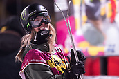1st December 2017, Moenchengladbach, Germany; Giulia Tanno of Switzerland  smiles as she arrives at the finish line in the women's finals of the Big Air Freestyle Skiing World Cup at the SparkassenPark venue in Moenchengladbach, Germany, 1 December 2017.