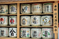 "Sake barrels normally displayed near a Shinto shrine are called kazaridaru, which means ""decoration barrels."