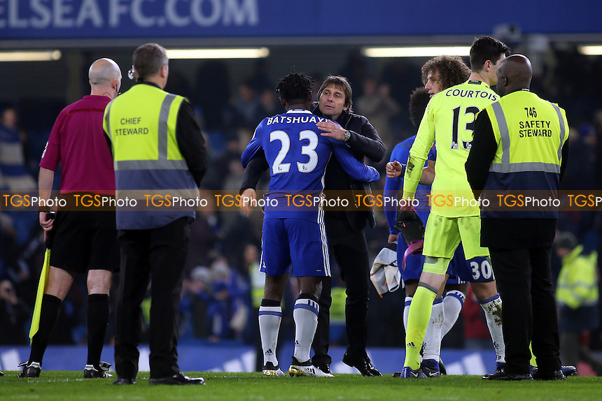 Chelsea Manager, Antonio Conte, embraces Michy Batshuayi, at the final whistle during Chelsea vs Hull City, Premier League Football at Stamford Bridge on 22nd January 2017