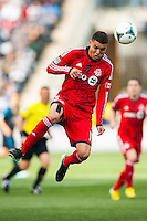 Luis Silva (11) of Toronto FC heads the ball. Toronto FC and the Philadelphia Union played to a 1-1 tie during a Major League Soccer (MLS) match at PPL Park in Chester, PA, on April13, 2013.