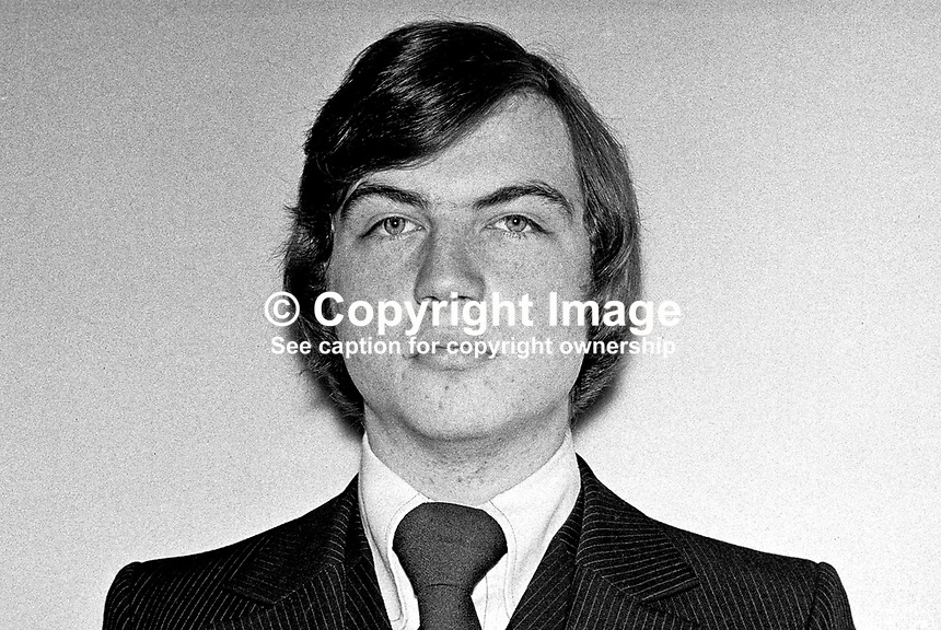 David Burnside, candidate, Vanguard Unionist, N Antrim, N Ireland Assembly Election, 1973066000465. Unsuccessful. Later joined Ulster Unionist party.<br />