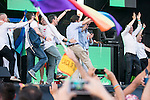 Leader &quot;Podemos&quot; Pablo Iglesias dancing at the protest during Gay Pride celebrations in Madrid, Spain. July 04, 2015.<br />  (ALTERPHOTOS/BorjaB.Hojas)