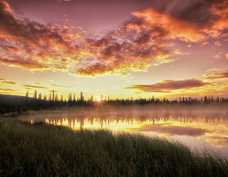 Sunrise on backwaters of Gulkana River, Alaska