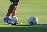 Earthquakes goalkeeper coach Jason Batty is pictured kicking few balls during warm-up before the game at Buck Shaw Stadium in Santa Clara, California on August 11th, 2012.   Earthquakes defeated Sounders, 2-1.