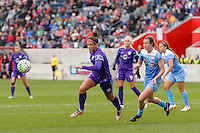 Bridgeview, IL, USA - Sunday, May 1, 2016: Orlando Pride forward Sarah Hagen (8) and Chicago Red Stars defender Katie Naughton (5) during a regular season National Women's Soccer League match between the Chicago Red Stars and the Orlando Pride at Toyota Park. Chicago won 1-0.