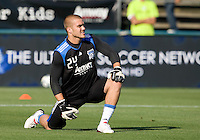 Earthquakes' goalkeeper Kyle Reynish warms up during practice before the game against Real Salt Lake at Buck Shaw Stadium in Santa Clara, California on March 27th, 2010.   Real Salt Lake defeated San Jose Earthquakes, 3-0.