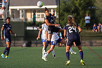 Alston, Massachusetts - July 17, 2016:  Sky Blue FC (blue) beat the Boston Breakers (white and blue) 3-2 in a National Women's Soccer League (MWSL) match at Jordan Field.