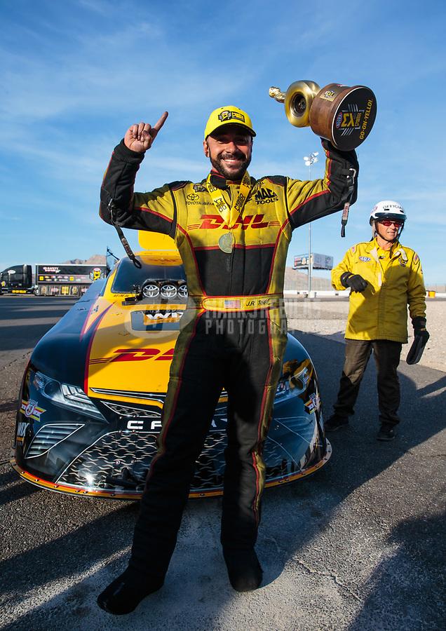 Oct 28, 2018; Las Vegas, NV, USA; NHRA funny car driver J.R. Todd celebrates after winning the Toyota Nationals at The Strip at Las Vegas Motor Speedway. Mandatory Credit: Mark J. Rebilas-USA TODAY Sports