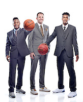 NWA Democrat-Gazette/BEN GOFF -- 03/18/15 The All-NWADG boys basketball selections (from left): Newcomer of the Year Lexus Hobbs of Rogers Heritage, Coach of the Year Jason McMahan of Bentonville and Player of the Year Malik Monk of Bentonville.