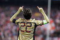 Milan´s Kaka celebrates a goal during 16th Champions League soccer match at Vicente Calderon stadium in Madrid, Spain. January 06, 2014. (ALTERPHOTOS/Victor Blanco)