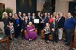 Sean O'Driscoll presents John Concannon with the SKAL Leader in Tourism Award for his work on the 1916 Commemoration Project throughout Ireland at the annual SKAL dinner in The Brehon Hotel. Also in photo are seated from left, Jimmy Dunne, Margaret Cahill, Nora and Dermot Cronin. At back, KellyAnn O'Connor, Bridget O'Connell, Sinead McCarthy, Terence Mulcahy, Derry Cronin, ITOA,  Brian Bowler, President, SKAL Killarney, Mary Concannon, Conor Hennigan, Geraldine Rosney, Stacey Williams, Sabrina Horgan, Mike Rosney and Danny McClure. <br /> Photo: Don MacMonagle<br /> <br /> Repro free photo