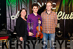 Harry O'Connor from Kenmare Rotary Club Killarney Young Musician of the Year winner pictured with his parents Sue and Jon O'Connor in the INEC Acoustic Club, Killarney last Saturday night.
