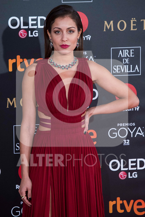 Hiba Abouk attends red carpet of Goya Cinema Awards 2018 at Madrid Marriott Auditorium in Madrid , Spain. February 03, 2018. (ALTERPHOTOS/Borja B.Hojas)